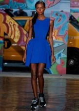 Sneakers to a blue dress short