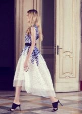 White and blue dress with blue shoes