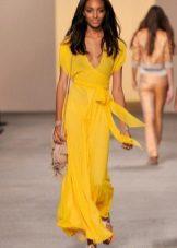 sarı elbise şifon kemer
