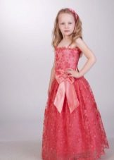 Vestido de formatura no jardim de infância vermelho para o chão