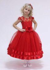 Vestido de formatura no jardim de infância vermelho curto