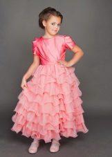 Vestido final no jardim de infância rosa de várias camadas
