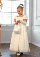 Vestido de Natal para uma menina no estilo Império para o chão