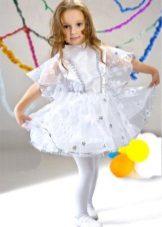 Vestido de ano novo o floco de neve com mangas para a menina