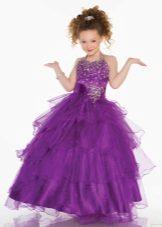 Vestido de ano novo para a menina violeta com pastas