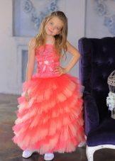 Vestido de ano novo para a menina multicamadas