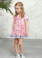 Vestido de verão com estampa para menina de 5 anos