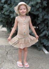 Vestido de verão tricotado para menina de 5 anos