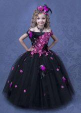 Vestido de bola preto inteligente para a menina