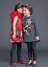 Vestidos de inverno tweed com uma impressão para meninas
