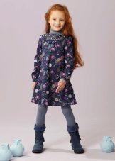Vestido de inverno com flores para meninas