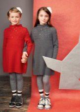 Camisola vestido de inverno de malha para meninas