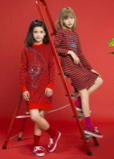 Vestido de inverno vermelho para meninas