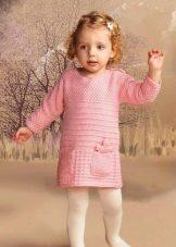 Vestido de malha de inverno com mangas para meninas