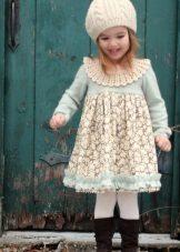 Vestido azul de inverno para meninas