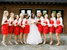 Fluffy Red Bridesmaid Mekot