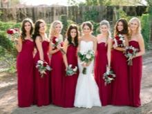 Viini burgundinen mekot bridesmaids