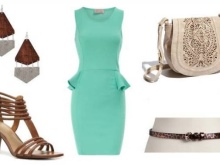 Mint-colored dress accessories