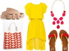 Pink accessories for yellow dress