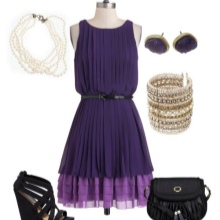 Purple dress with black accessories