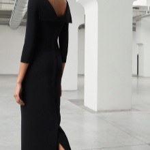 Black evening dress with open back