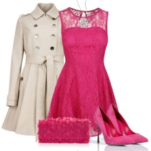 Shoes to crimson dress and beige coat
