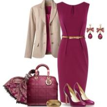 Beige accessories for crimson dress