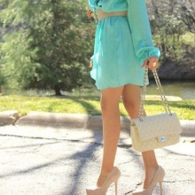 Beige shoes and a handbag dress navy blue