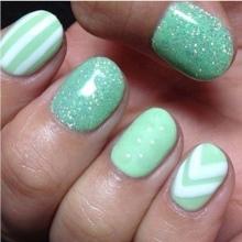 Turquoise manicure with rhinestones