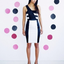 Dress asymmetric black and white colors