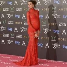 Rode kant vloer lengte zwangerschaps-jurk