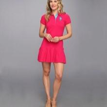 שמלת פולו ורודה קצרה עם חצאית קפלים