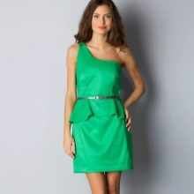 Green dress with basky and one-shoulder straps
