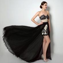 Short prom dress na may tren