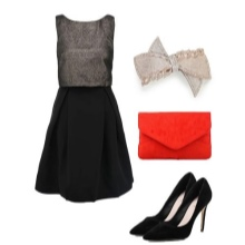 Dress with a black skirt and gray top and accessories for women with the figure of a pear