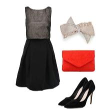 Kjole med en sort nederdel og grå top og tilbehør til kvinder med figuren af en pære
