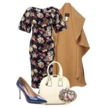 Kjole med blomsterprint og tilbehør til kvinder med figuren af en pære