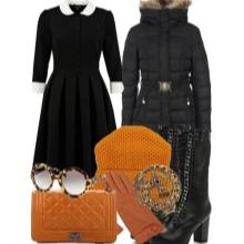 Felszerelt ruha, lángolt szoknyával és tartozékokkal, egy nő karcsú oszlopával