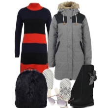 Knitted dress of medium length and accessories for the figure of the type Inverted Triangle