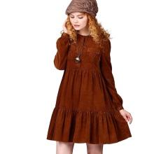 Velvet varm kjole med høy midje langermet
