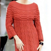 Knitted winter dress with a high waist with a long sleeve