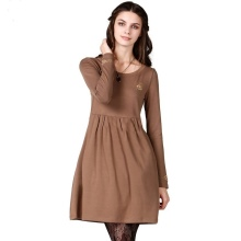 Knitted dress with a high waist for winter