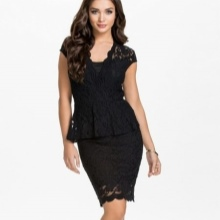 Lacy midi-jurk met bask voor zakelijk gebruik