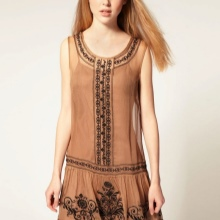 Rechte jurk met lage taille
