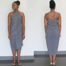 Sarong tied at the neck with crossed ends