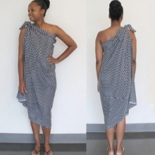 Sarong tied on one shoulder