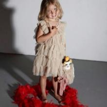 Vestido elegante para meninas 4-5 anos com babados