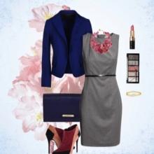Sininen lisävaruste harmaaseen mekkoihin