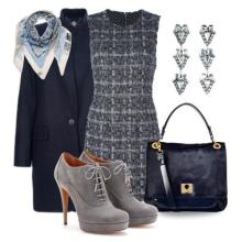 Casaco para vestido de bainha cinza