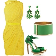 Green accessories to the yellow dress